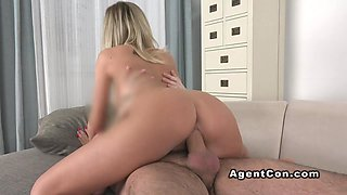 Busty amateur posing in panties on casting
