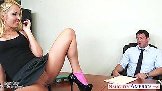Pretty teen secretary Aaliyah Love seduces her boss and sucks his penis