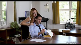 Brunette secretary with glasses gets rammed by her boss