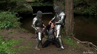 Medieval threesome with the most amazing chick