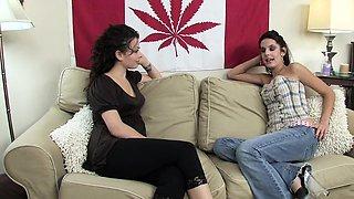 Teen lesbian friends have fun with vibrators