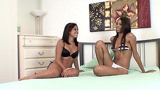 Hot ebony and Latina teens swap cum from a black cock