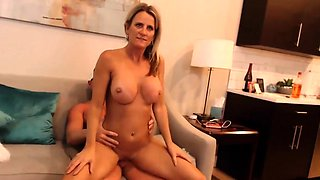 Busty blonde MILF gets anal fucked in hardcore foursome live