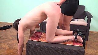 Ugly slave gets punished by model mistress
