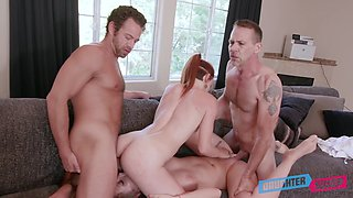 Athena Faris shares cum with her best friend after hardcore foursome sex