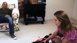 Bigtitted stepmom teaches teen in taboo trio