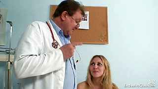 Sam visits gyno doctor for pussy speculum examination at