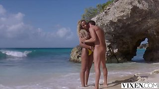 Picturesque Sex on the Beach with Blonde Model Romy