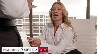 NAUGHTY AMERICA Sloan Rider gets dicked down by employee's big black cock