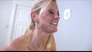 Sexy busty milf having fun with her new business partner