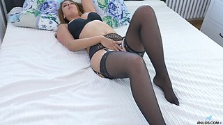 Video of provocative Ani Blackfox in black stockings and lingerie