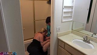 Stepson caught masturbating in the bathroom fucks stepmom