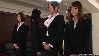 Amazing group sex between a horny boss and his kinky secretaries
