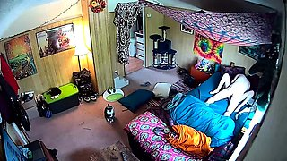 Horny amateur lovers enjoying passionate sex on hidden cam