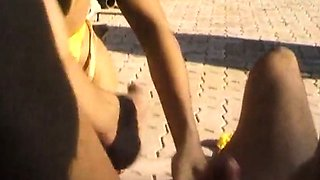 Big Brasilian anal orgy at the pool