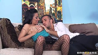 Delicious chick Anissa Kate tasting big Keiran Lee's cock