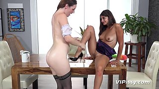 Amanda Hill and Tiny Tina in HD Pissing Video Wetting the French Maid  at Vipissy