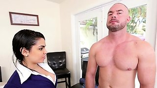 Vigorous Ada Sanchez with great natural tits gets fingered