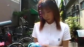Japanese schoolgirl marbles insertion for jump rope Subtitled