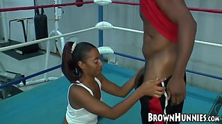 Big Booty Ebony Ms Juicy Rides Hard Cock In Gym After Wet Bj