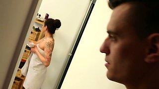Tattooed German brunette Mareen De Luxe is by dude's side to give him HJ