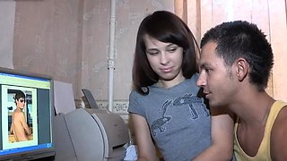 Naked russian brunette Dania drilled by stud