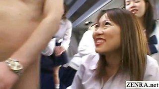 Subtitled CFNM Japanese schoolgirls teacher bus ride