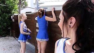 Teen cheerleader gets cum