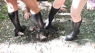 boot feeding humiliation outdoor