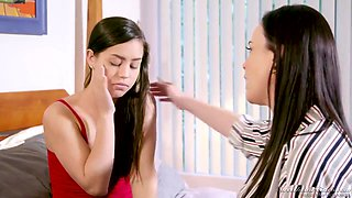 Dana Dearmond and Alina Lopez are nude, in the bedroom and ready to make love