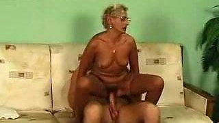 Blonde Granny in Glasses and Stockings Fucks