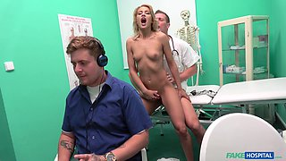 Blonde wife Cherry Kiss fucked by a doctor behind her husband's back