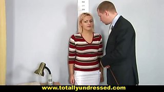 Nude job interview for busty blonde secretary
