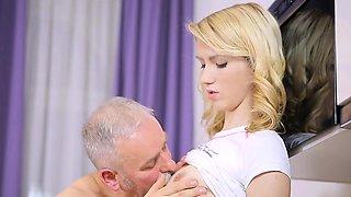Sensational blonde gal chose the biggest love rocket