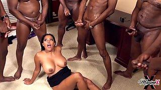 Black Busty Hooker Serves Crowd Of Ebony Guys - Max Dyor
