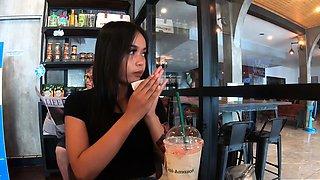 Amateur Thai teen offering dessert to BF