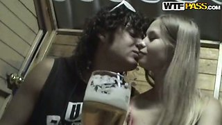 Sexy blonde cutie gets drunk and lets her boy stroke her cunt
