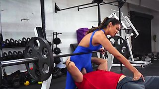 Stud hooks up with busty Latina instructor in blue tracksuit