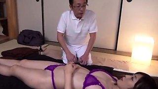 Hidden cam on asian massage fingering