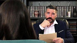 Job interview turns Into a desktop blowjob before the boss