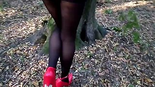 Extreme heels and tights (walk in the forest)