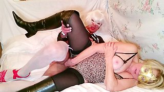 This old crossdresser has a nice dick and she loves it