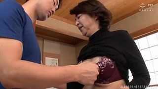 Asian mature Kitamura Toshiyo opens her legs to be fucked hard