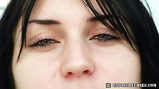 Naturaly big titted nurse Adriana toys herself at gyno