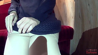 Cuckold wife took off her panties in the cafe