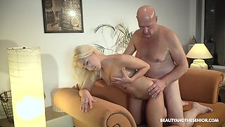Beautiful blonde Daisy Dawkins is craving for crazy sex with old man