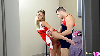 Stunning young blonde feels energized by the lad's cock in her fanny