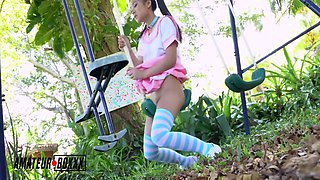Asian School Girl Masturbates In Playground
