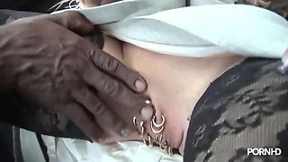 Marina Is A Slutty Blonde Woman With A Heavily Pierced Pussy, Who Likes Interracial Anal Sex