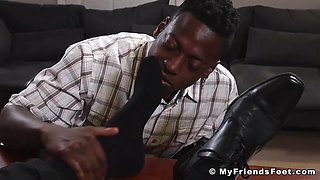 Kinky bearded businessman foot worshipped by black amateur